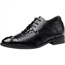 British Crocodile Height Increasing Tuxedo Shoes 2.4inch / 6cm Black Elevator Pointy Toe Formal Oxfords