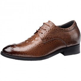 British Crocodile Height Increasing Tuxedo Shoes 2.4inch / 6cm Brown Taller Pointy Toe Formal Oxfords