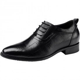 Exquisite Pointed Toe Height Increasing Oxford Shoes 2.4inch / 6cm Black Elevator Party Shoes