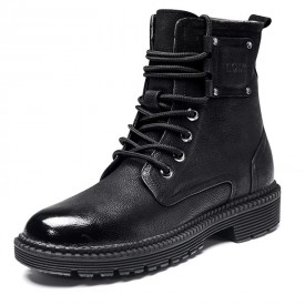 Black Retro Elevator Martin Boots Cowhide Chukka Boot Increase Height 2.6inch / 6.5cm
