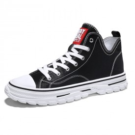 Black High Top Elevator Sneakers Lightweight Hidden Heel Skate Shoes Get Taller 2.8inch / 7cm