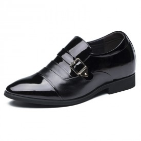 Elevated buckle dress shoes 7cm / 2.75inch black extra height wedding shoes