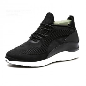 British Height Increasing Trainer Shoes Add Taller 4inch / 10cm Black Elevator Walking Shoes