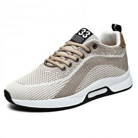 Beige Taller Men Fashion Trainers Hidden Lift Flyknit Walking Running Shoes Increase 2.4inch / 6cm