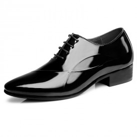 Black Pointy Toe Elevator Formal Oxfords Patent Leather Tuxedo Wedding Shoes Get Taller 3.2inch / 8cm