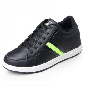 fashionable height 7cm / 2.75inches elevator Walking shoes black taller Skateboarding footwear