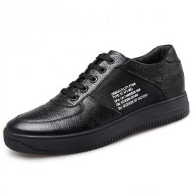 Korean Elevator Skate Shoes Black Platform Casual Shoes Increase Height 2.4inch / 6cm