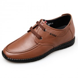 Modern Elevator Driving Shoes Brown Soft Leather Hidden Heel Casual Shoes Height 2.4inch / 6cm