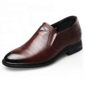 Versatile Wing Tip Height Increasing Shoes Brown Slip On Brogue Formal Oxfords Taller 2.6inch / 6.5cm