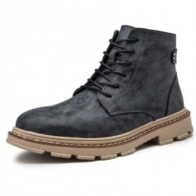 Black Height Increasing Ankle Boots British Trendy Leather Martin Boots Look Taller 3.4inch / 8.5cm