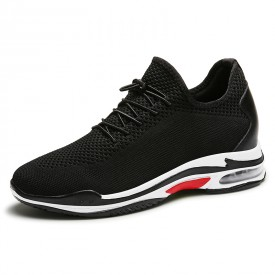 Black Elevator Racing Shoes Flyknit Fashion Trainers Make You Taller 3.4inch / 8.5cm