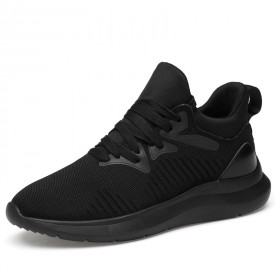 Soft Elevator Flyknit Racer Shoes Breathable Slip On Fashion Sneakers Height Taller 3.2inch / 8cm