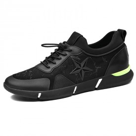 Relaxed Elevator Racing Shoes Add Taller 2.4inch / 6cm Black Slip On Running Shoes