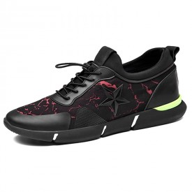 Relaxed Elevator Racing Shoes Height 2.4inch / 6cm Black-Red Slip On Running Shoes