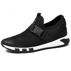 Fashion Elastic Elevator Sneaker 2.4inch / 6cm Black Taller Casual Sport Walking Shoes