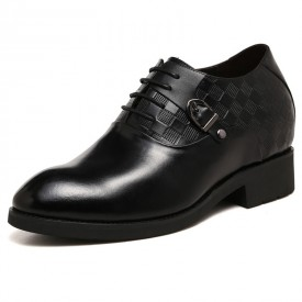 Trendy lace up fomal elevator shoes 8cm / 3.2 inch sharp taller business shoes