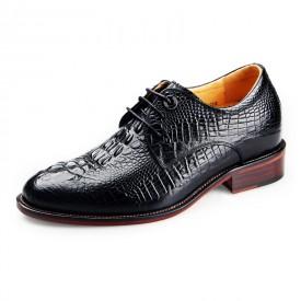 Luxurious crocodile elevator wedding shoe add taller 6.5cm / 2.56inch heel height formal shoes