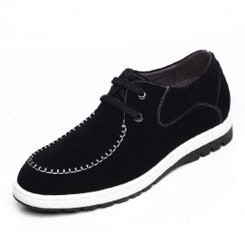 Black suede elevator casual shoes 6cm / 2.36inch height increase leisure shoe