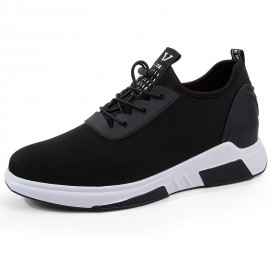 Fashion Taller Men Sneakers Black Slip On Walking Shoes Increase Height 3.2inch / 8cm