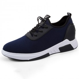 Fashion Taller Men Sneakers Blue Slip On Walking Shoes Add Height 3.2inch / 8cm