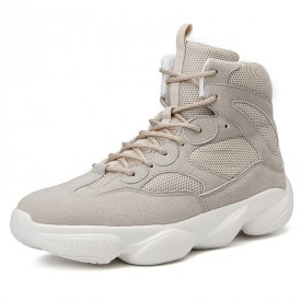 Breathable Elevator Ankle Sneakers Beige High Top Warlking Shoes Increase 3.2inch / 8cm