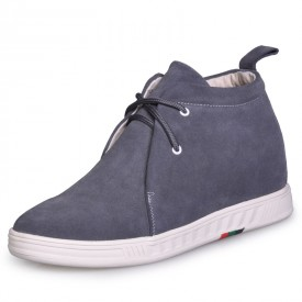 Gray Suede leather leisure and comfortable high heel ankle boots height taller 2.75 inches / 7cm