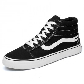 Trendy Elevator Plimsolls Shoes Black-White High Top Height Sneakers Taller 2.8inch / 7cm