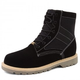 Black Elevator Working Boot Casual Martin Boots Increase Height 3.2inch / 8cm
