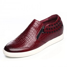 Wine red stone pattern elevator loafers 5.5cm / 2.17 inch height side zipped casual shoes