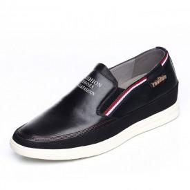 Premium men elevator loafers 6cm / 2.36inch black slip on board shoes
