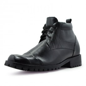 Lace up genuine leather ankle boots grow taller 9cm /3.54 inch height increasing boot