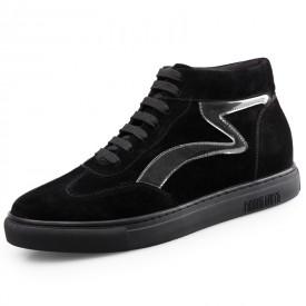 Winter Elevator High Top Sneakers Black Hidden Heel Skateboarding Shoes Tall 2.2inch / 5.5cm
