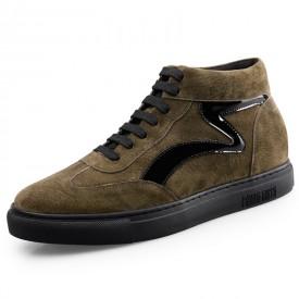 Winter Elevator High Top Sneakers Khaki Hidden Heel Skateboarding Shoes Height 2.2inch / 5.5cm