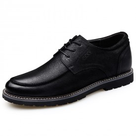 Superior Elevator Casual Oxford Black Nubuck Business Shoes Increase 2.6inch / 6.5cm