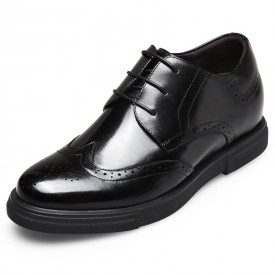 British luxury height increasing brogue shoes 2.6inch / 6.5cm Black