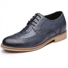 Blue premium business height shoes 7cm / 2.75inch heel lift formal derby shoe