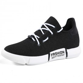 Slip On Elevator Street Sport Shoes Black Lightweight Knitted Mesh Sneakers Taller 2.8inch / 7cm