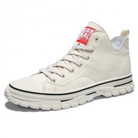 Beige High Top Elevated Sneakers Lightweight Hidden Heel Skate Shoes Increase 2.8inch / 7cm