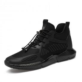 Breathable Hidden Heel Sneakers Black Non-Slip Elevator Walking Shoes Increase Taller 3.2inch / 8cm