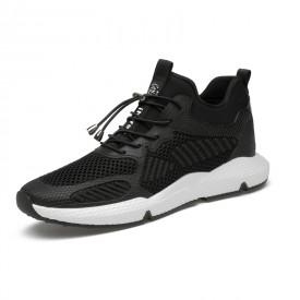 Breathable Hidden Height Sneakers Black-White Non-Slip Elevator Walking Shoes Taller 3.2inch / 8cm