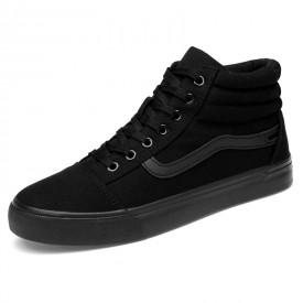 Trendy Elevator Plimsolls Shoes Black High Top Taller Sneakers Increase 2.8inch / 7cm