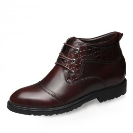 British elevator formal cotton boot add taller 6.5cm / 2.56inch warm lace up cap toe boots