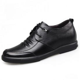 Low Top Hidden Lift Shoes Black Cowhide Elevator Casual Shoes Tall 2.4inch / 6cm