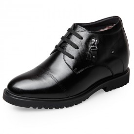Winter Elevator Dress Shoes Increase Taller 6.5cm / 2.6inch High Top Black Business Shoes