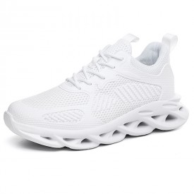 White Younger Hidden Taller Sneakers Mesh Breathable Trail Runners Increase Height 2.8inch / 7cm