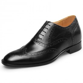 Exalted Brogue Elevator Shoes 2.8inch / 7cm Black Wing Tip Height Increasing Wedding Shoes
