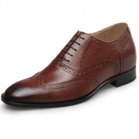 Exalted Brogue Elevator Shoes 2.8inch / 7cm Brown Wing Tip Hidden Heel Wedding Shoes