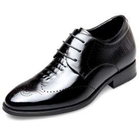 Boutique Elevator Brogue Derby Shoes Heighten 2.6inch / 6.5cm Black Carved Cowhide Taller Tuxedo Shoes