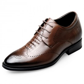 Boutique Elevator Brogue Derby Shoes Taller 2.6inch / 6.5cm Brown Carved Cowhide Height Tuxedo Shoes