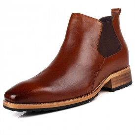 British men height increasing tooling boots taller 7cm / 2.8inches brown chelsea boots